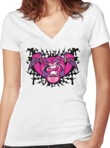 Evil Beaver Women's Fitted V-Neck T-Shirt