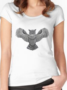 Owl Print Women's Fitted Scoop T-Shirt