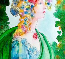 Boticelli stylized watercolor portrait by vinainna