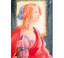 Boticelli stylized watercolor portrait II Photographic Print