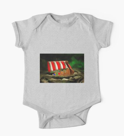A Viking Longship Battling for Home One Piece - Short Sleeve