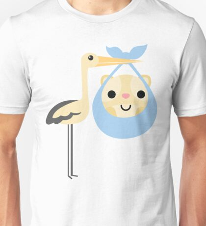 Stork with Baby Hamster Emoji Happy Smiling Face Unisex T-Shirt