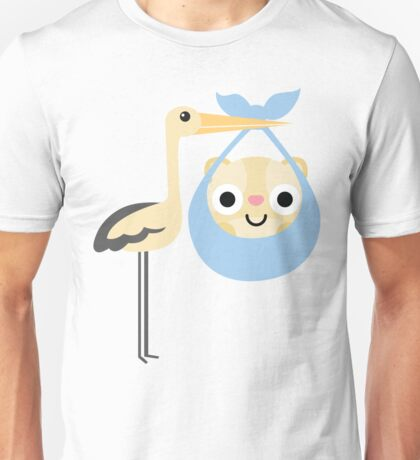 Stork with Baby Hamster Emoji Happy with Joy Unisex T-Shirt