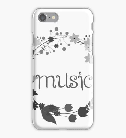 Black and white floral music iPhone Case/Skin