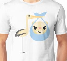 Stork with Baby Hamster Naughty and Cheeky Face Unisex T-Shirt