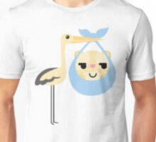 Stork with Baby Hamster Emoji Shy and Secret Look Unisex T-Shirt