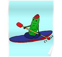 Cool Funny Kayaking Pickle Cartoon Poster