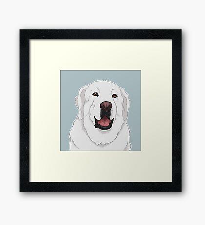 NALA! Great Pyrenees Dog / white polar bear happy cute livestock guardian dog lgd herd sheep dog Framed Print