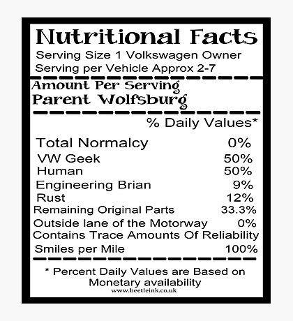 Volkswagen Nutrition facts Photographic Print