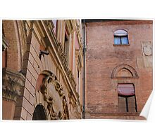Red brick buildings from Bologna, Italy Poster