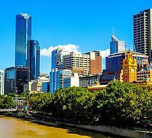 Melbourne skyline from St Kilda Road bridge of the River Yarra by Luke Farmer