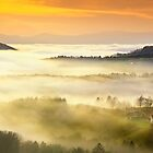 A sea of fog over styrian hills by Delfino