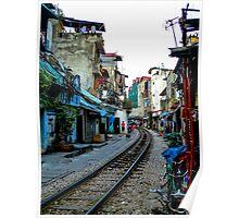 Railway tracks through Hanoi, Vietnam Poster