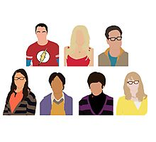 The Big Bang Theory Cast - Minimalist design Photographic Print