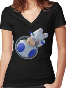 Toad In Space Women's Fitted V-Neck T-Shirt