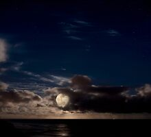 Supermoon over the Pacific Ocean by Alex Preiss