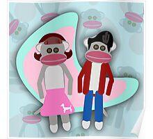 Sock Hoppin Sock Monkeys Poster