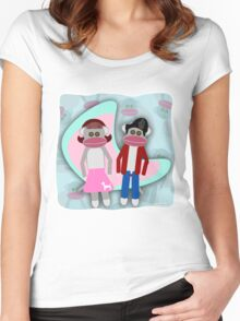 Sock Hoppin Sock Monkeys 2 Women's Fitted Scoop T-Shirt