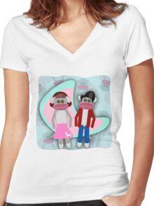 Sock Hoppin Sock Monkeys 2 Women's Fitted V-Neck T-Shirt