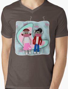 Sock Hoppin Sock Monkeys 2 Mens V-Neck T-Shirt
