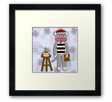 Hipster Beatnik Sock Monkey Framed Print