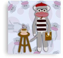 Hipster Beatnik Sock Monkey Canvas Print