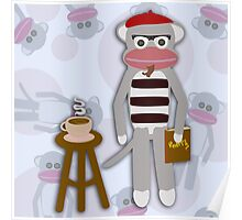 Hipster Beatnik Sock Monkey Poster