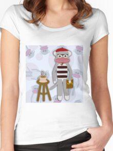 Hipster Beatnik Sock Monkey Women's Fitted Scoop T-Shirt