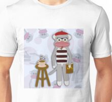Hipster Beatnik Sock Monkey Unisex T-Shirt