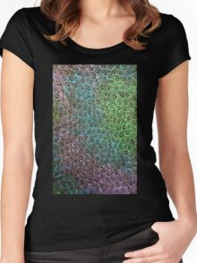 Geometric Peacock Oil Pastel Etching Women's Fitted Scoop T-Shirt