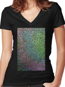 Geometric Peacock Oil Pastel Etching Women's Fitted V-Neck T-Shirt