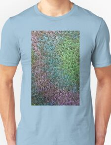Geometric Peacock Oil Pastel Etching T-Shirt