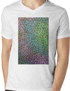 Geometric Peacock Oil Pastel Etching Mens V-Neck T-Shirt