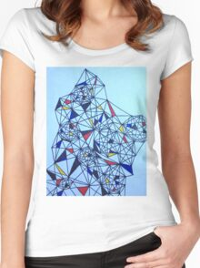 Geometric Drawing in Primary Colors; Mondrian-inspired Women's Fitted Scoop T-Shirt
