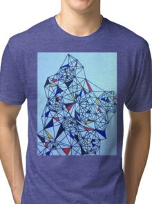 Geometric Drawing in Primary Colors; Mondrian-inspired Tri-blend T-Shirt
