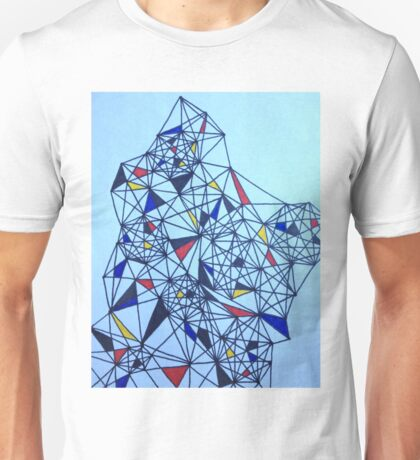 Geometric Drawing in Primary Colors; Mondrian-inspired Unisex T-Shirt