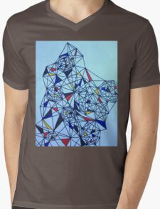 Geometric Drawing in Primary Colors; Mondrian-inspired Mens V-Neck T-Shirt