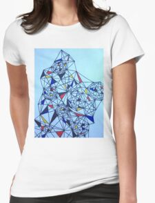 Geometric Drawing in Primary Colors; Mondrian-inspired Womens Fitted T-Shirt