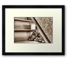 Old children's shoes on a stairway Framed Print