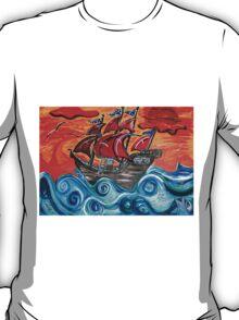 pirate ship windy sunset T-Shirt