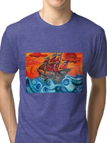 pirate ship windy sunset Tri-blend T-Shirt