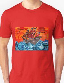 pirate ship windy sunset Unisex T-Shirt