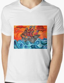 pirate ship windy sunset Mens V-Neck T-Shirt