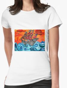 pirate ship windy sunset Womens Fitted T-Shirt