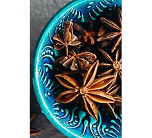 Authentic Blue Bowl Full of Anise Stars Photographic Print