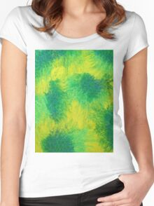 Geometric Lemon Lime Oil Pastel Etching Women's Fitted Scoop T-Shirt
