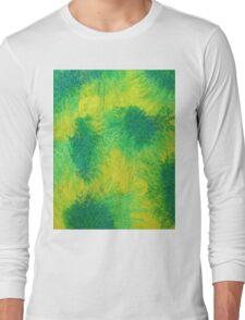 Geometric Lemon Lime Oil Pastel Etching Long Sleeve T-Shirt