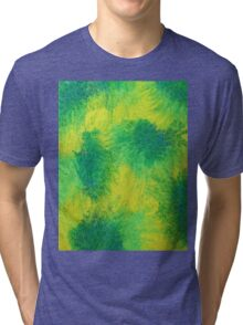 Geometric Lemon Lime Oil Pastel Etching Tri-blend T-Shirt