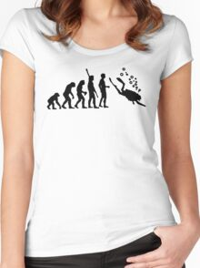 Evolution Of Scuba Diving Black Funny Women's Fitted Scoop T-Shirt