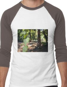 Selective focus on a young branch of a tree with leaves Men's Baseball ¾ T-Shirt